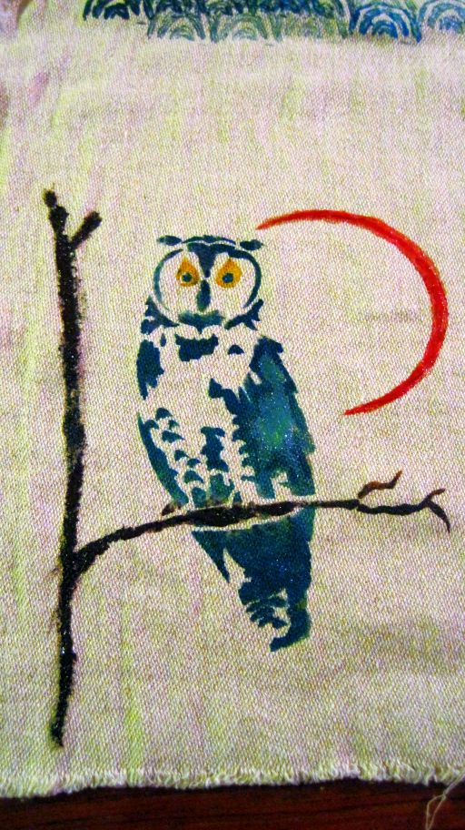Owl stencil on hemp